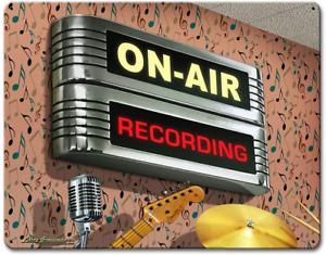 On Air Recording Retro Vintage Tin Signs, Home Bar Garage Man Cave Decor,12 x 8