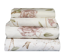 Beautiful Soft  Comfort 4 pcs QUEEN Sheet Butterfly & Floral on Ivory
