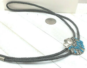 Southwestern Bolo Tie Faux Turquoise Cast Silver Chief Head Black Leather AS Is