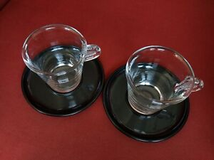 Nespresso View Coffee CAPPUCCINO Tempered Clear Glass Cups & black Saucers 2 set