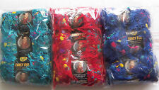 9 skeins LION-FANCY FUR YARN-w/color kernels-Brilliant Blue/Rainbow Red/TropTurq