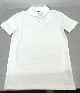 NEW Old Navy Boy's Pique Uniform Stretch Polo Shirt School-White - Size M[8(E-3)