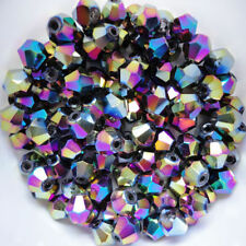 100 Austrian Crystal Glass Bicone Beads -Multi-Coloured - 4mm