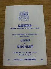31/08/1974 programma Rugby League: Leeds V keighley [Yorkshire COPPA] (piega, fol