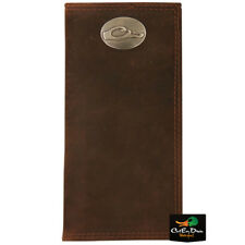 DRAKE WATERFOWL SYSTEMS BROWN FULL GRAIN LEATHER CHECK BOOK WALLET W/ LOGO