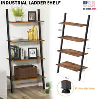 4-Tier Ladder Shelf Bookshelf Bookcase Storage Display Home Office Industrial