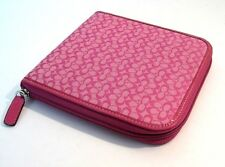 Coach Raspberry/Pink Patent Leather Trim 12 Pockets & Fit 12 DVD CD Case Bag