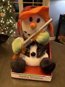 Animated GEMMY HUNTING SNOWMAN with Rifle and Camo Lighted Musical Christmas NIB