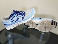 Nike Free Run 2 PRM EXT Premium Womens Size 9.5 Blue / Platinum Sparkle / White