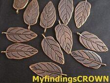 50PCS Antiqued copper large flat leaf charms 30x13mm FC187