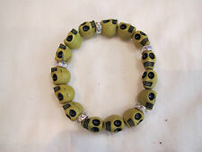 Lime Green Skull Bracelet Stretchy Day Dead Crystal Rondelle Carved Halloween