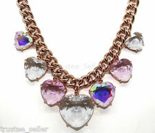 NWT JUICY COUTURE PINK ROSE GOLD MULTI HEART STONES LOVE STORY CHOKER NECKLACE
