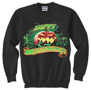 Happy Halloween pumpkin jack o lantern black Crewneck Pullover Sweatshirt