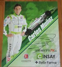 2014 Carlos Munoz signed Cinsay Honda Dallara Indy Car postcard
