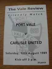 12/08/1989 Port Vale v Carlisle unida [amigable] cuatro páginas. no hay defectos evidentes