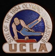 Gymnastics Olympic Pin~UCLA Venue~LA 1984~Los Angeles~Pommel Horse~blue shirt