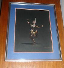VINTAGE 1960-70s GOUACHE PAINTING OF THAI DANCER SIGNED NAKORN