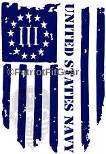 "USN,Navy,3%,Hooyah,Threeper,""Non sibi sed patriae"",Flag,Military,Vinyl Decal"