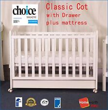 3 in 1 Classic Cot & Mattress Crib Baby White Toddle Bed