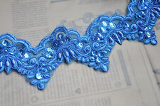 "Blue Alencon Lace Trim Pearl Beaded Sequined Lace Wedding Lace Trim 3.54"" width"
