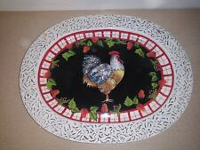 "17"" × 13"" Decorative White, Black, Red Chicken Serving Plate"