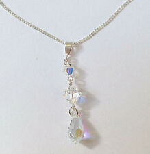 Sterling Silver Necklace w. Clear AB Swarovski Elements Crystal Teardrop Pendant
