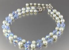 VINTAGE 50'S MULTI 2 STRAND BLUE FAUX PEARL & CRYSTAL GLASS BEAD NECKLACE