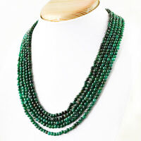 294.00 Cts Earth Mined 5 Line Rich Green Emerald Round Shape Beads Necklace