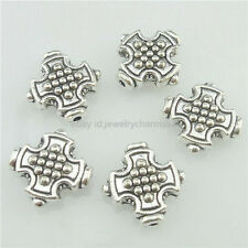 16832 30PCS Alloy Antique Silver Vintage Cross 12mm Spacer Beads Charm