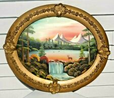 Antique 1880s Victorian Oval Ornate Picture Frame W/ 1915 HAND PAINTED MIRROR