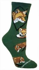 Wildlife Red Fox Adult Size Medium Socks/Green Usa made Retired color