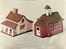 Vintage Columbia-Minerva Needlepoint Idea Kit Red School House & House w/Porch