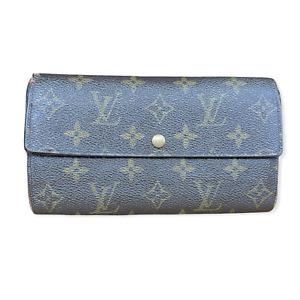 LV2232 LOUIS VUITTON Brown Monogram Canvas Leather Sarah Long Envelope Wallet