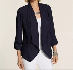 New CHICO'S Stylish Blazer Size 0 (4-6) Dark Navy Blue Lace Detail NWT