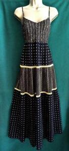 PER UNA M&S Uk 20 Black Mustard Shirred Crochet Cotton Long Maxi Holiday Dress