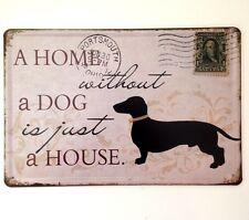 RETRO METAL WALL SIGN TIN PLAQUE VINTAGE SHABBY CHIC FUNNY HOME DOG PUPPY HOUSE