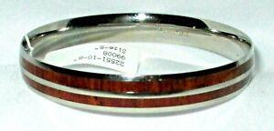 NEW Stainless Steel KOA WOOD BANGLE BRACELET Size 8 No Clasp