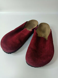 Birkenstock TATAMI Red Clog Suede Women Summer Trend Sandals Shoe Sz 39 L8 M6
