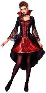 Sexy Vampiress Damen-Kostüm Vampirin Vampir Lady Halloween Kleid und Halsband