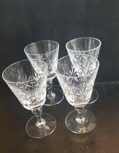 VINTAGE SET OF 4 CRYSTAL CUT GLASS  WINE GLASSES Good Quality