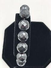 "Shamballa Beaded  Adjustable Bracelet Gray Hematite Elastic 7"" - 8.5"" inches"