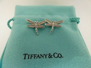 Tiffany & Co. 18K White Gold Diamond Dragonfly Bug Insect Stud Earrings .14 CTW