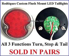 Flat Mount LED Taillights Round Stainless Steel Hot Rod Chevy Buick Pontiac F32