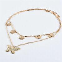 Women Chain Gold Boho Layer Necklace Charm Hollow Butterfly Pendant Choker Multi