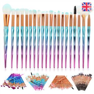 20PCS Diamond Mermaid Make up Brushes Set Powder Foundation Contour Hot UK