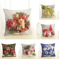 """18"""" Pillow Case Christmas Ball Linen Cotton Home Decor Sofa Waist Cushion Cover"""