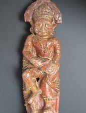 Antique Grande Statuette en Bois sculpté sur Socle, INDE