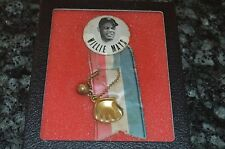 WILLIE MAYS 1960'S STADIUM PIN BUTTON WITH TASSEL, GLOVE AND BALL!!! RARE!!!