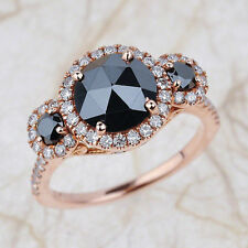 Round Cut Black Diamond Three Stone Engagement Ring in 14K Rose Gold