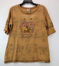 HARLEY DAVIDSON CALGARY Women's Gold Alberta,Canada Short Sleeve T-Shirt XL (D3)